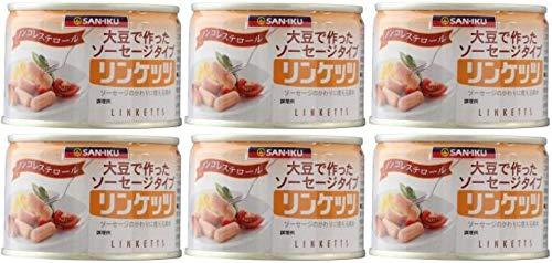 大豆でつくったウインナー 三育 リンケッツ(缶詰)160g×6個 ★ コンパクト ★ 大豆たんぱくを主原料に、卵白を加えたウインナーソーセージ風の食品です。
