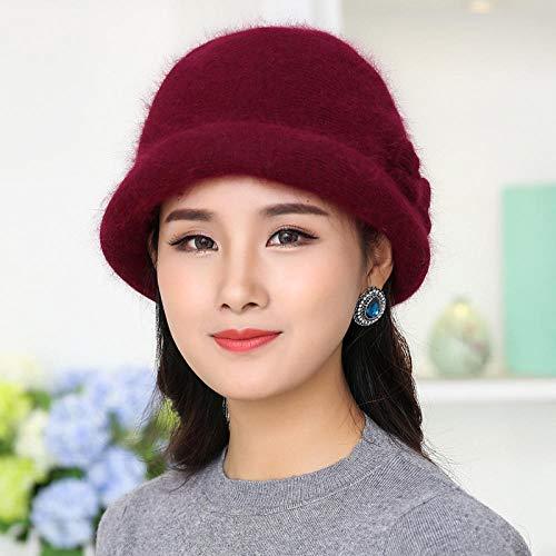 Tony plate Sombrero de Mujer Invierno de Mediana Edad y Ancianos a Prueba de frío Sombrero cálido Madre Gruesa Doble Capa protección para los oídos Sombrero de Punto-Vino Tinto-Suave
