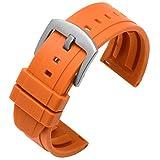 Beapet 20 mm 22 mm 24 mm Reloj de Reloj de Silicona 42mm 46Msuitable para la mayoría de los Relojes de la Interfaz Plano (Color : Orange S, Size : 24mm)