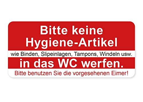 Aufkleber Bitte Keine Hygiene-Artikel in das WC werfen Hinweis Kloh Schild Sticker Wetterfest und UV-Beständig