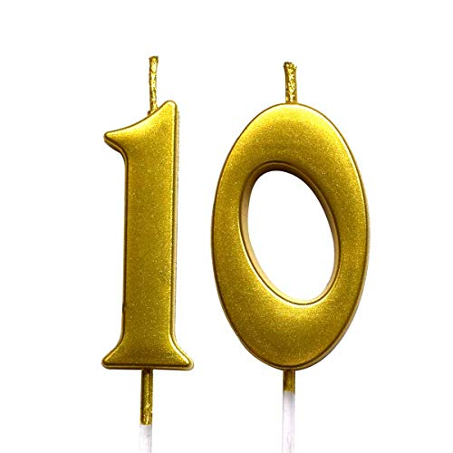 Gold 10th Birthday Numeral Candle, Number 10 Cake Topper Candles Party Decoration for Girl Or Boy