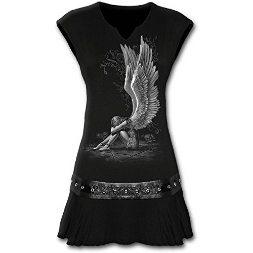 Spiral, vestido de tamaño mini para mujer con diseño de ángel esclavizado y tachuelas en la cintura, color negro negro negro Large