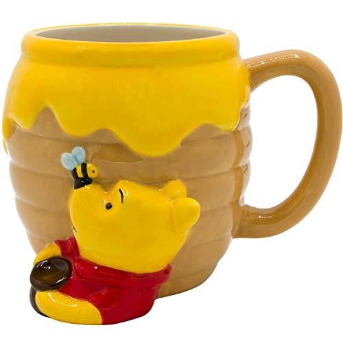 Silver Buffalo Disney Winnie-The-Pooh Honey Pot Ceramic Coffee 3D Sculpted Mug, 23 Oz, Brown