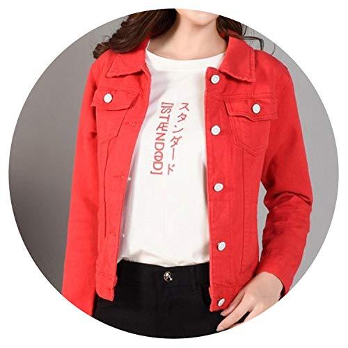 Chaquetas de mezclilla para mujer, color blanco, primavera, otoño, calle, bolsillos, botón, vaqueros, chaqueta casual coreana de mezclilla Rojo rosso S