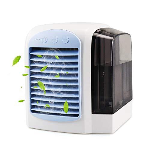 FHzytg 4 in1 Mini Air Cooler, USB Mobile Klimaanlage, Luftbefeuchter, Luftreiniger, Tischlüfter mit 3 Geschwindigkeiten und LED-Nachtlicht für den Büro-Haushalt
