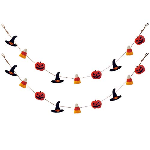 HAUMENLY Halloween Banner Pumpkins Wizard Hats Candy Corns Party Supplies Holiday Decoration - Pack of 2