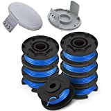 """TOPEMAI AC14RL3A String Trimmer Replacement Spool Line 0.065"""" for Ryobi One+ 18V, 24V, and 40V Cordless Trimmers(8 Spools + 2 522994001 Caps)"""