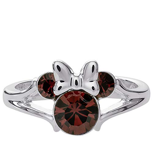 Disney Minnie Mouse Birthstone Jewelry for Girls, Silver Plated Burgundy Crystal January Ring Size 4, Mickey's 90th Birthday Anniversary