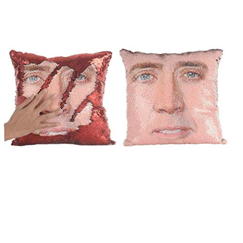 Creative Nicolas - Funda de almohada reversible con lentejuelas para sofá, cama, sofá