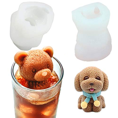 YAWOOYA Set of 2 Pack 3D Bear and Puppy Silicone Molds 35ml Capacity Resin Candle Clay Fondant Ice Cube Gumpaste Chocolate Dough Mold