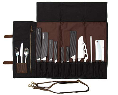 ExecuChef Waxed Canvas Knife Roll | 15 Knife Slots, Card Holder and a...