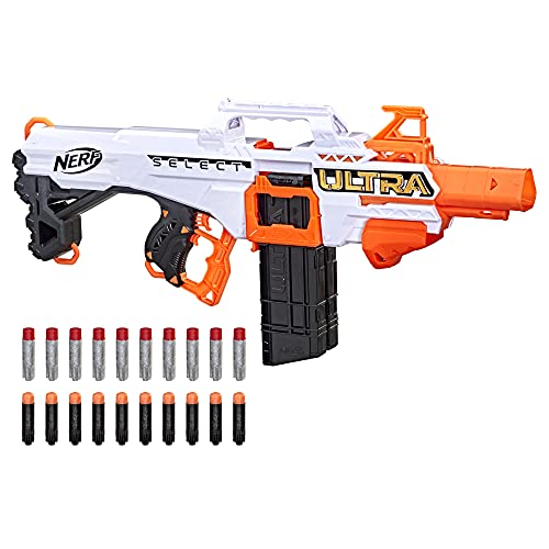 NERF Ultra Select Fully Motorized Blaster, Fire for Distance or Accuracy, Includes Clips and Darts, Compatible Only Ultra Darts