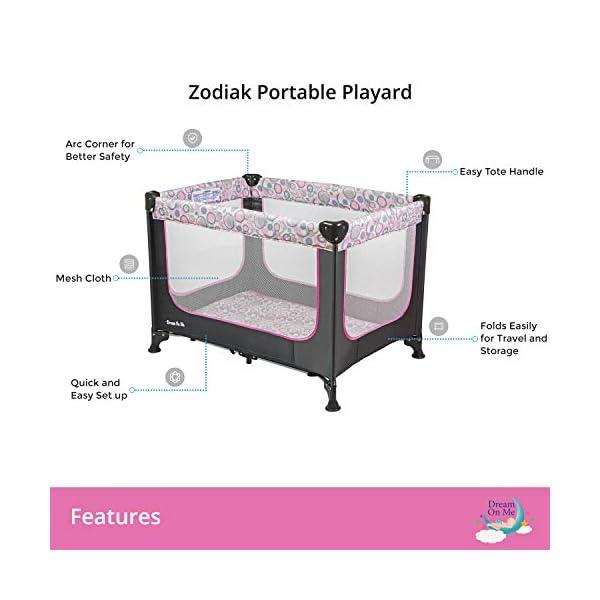 Dream On Me, Zodiak Portable Playard, Grey/Pink