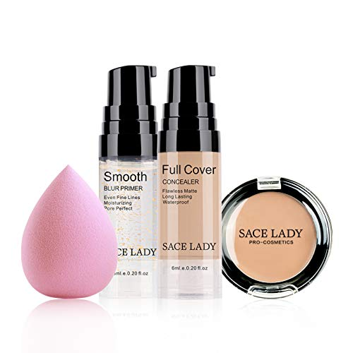 Waterproof Full Coverage Concealer With Primer Sponge Set, Smooth Matte Flawless Creamy Liquid Foundation Corrector Makeup Kit for Face Eye Dark Circles Spot Acne Scar Cover (0.2Fl, Natural)