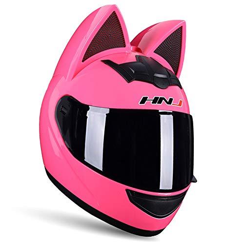 DYJD Cooler Katzenohren-Motorradhelm, Motorradhelm mit Katzenohren-Dekoration, Katzenhelm für Damen und Herren, Pink, XL