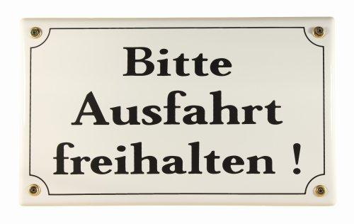 Emaille Schild Bitte Ausfahrt freihalten Parkplatzschild 25x15 cm wetterfest und lichtecht