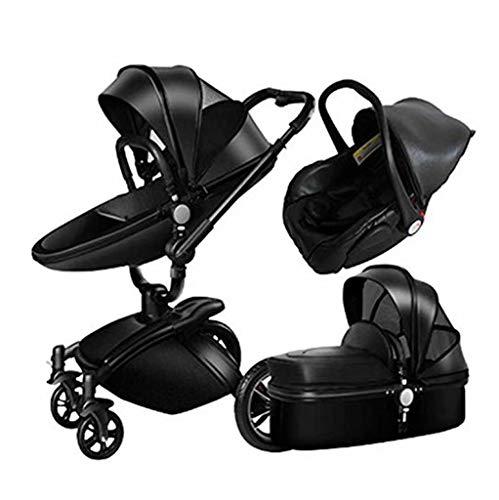 LjfⓇ Hot Mom Kinderwagen-Reisesystem, Buggy Bumper Robuster Kinderwagen mit faltbarem 360 ° -Drehkinderwagen, Baby von 0 bis 3 Jahren, schwarz