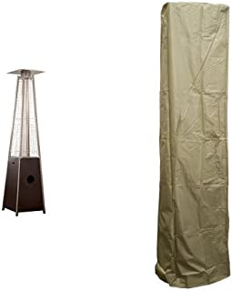 AZ Patio Hammered Bronze Quartz Glass Tube Patio Heater HLDS01-GTHG with Heavy Duty Square Cover - Camel
