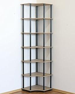 Modo24 Étagère Tubulaire DEDAL-7W, étagère pour Bureau ou Cave, étagère d'Angle, étagère à Livres, Noire, 7étages