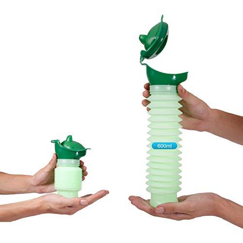 Lunata (Upgrade 2019) 600ml Universal Mini Urinal für Mann, Frau & Kind, Mobiltoilette, Personal Toilet, Notfall Reisetoilette, Notfall WC, biegsame Urinflasche, Farbe: Grün