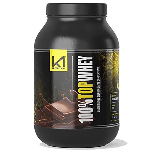K1 NUTRITION 100% TOP WHEY 2 Kg Proteine del Siero Latte con Creatina Taurina Aminoacidi Per la crescita ed il mantenimento della massa muscolare (CIOCCOLATO)