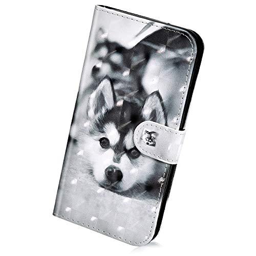 Herbests Kompatibel mit Huawei Y7 2019 Hülle Klapphülle Leder Tasche Flip Schutzhülle Wallet Handyhülle 3D Bunt Muster Glänzend Bling Glitzer Brieftasche Handytasche Hülle,schwarz H&