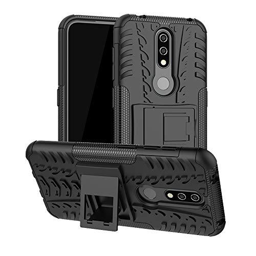 LFDZ Nokia 4.2 2019 Custodia, Resistente alle Cadute Armatura Robusta Custodia Shockproof Protective Case Cover per Nokia 4.2 2019 Smartphone(Not Fit Nokia 4.1),Nero