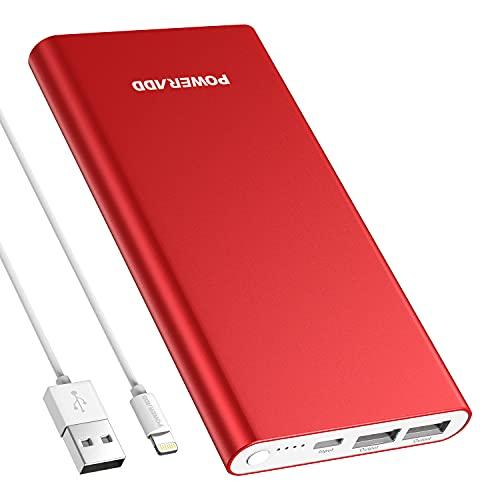 Pilot 4GS - Batería externa portátil (12000 mAh, con 2 puertos USB, batería de emergencia compacta para Huawei, Xiaomi, OnePlus, Samsung, etc. - Rojo