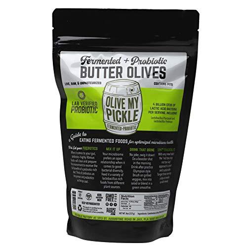 Olive My Pickle Live Cultured & Probiotic Olives for Gut Health - BUTTER OLIVES (Pack of 1, 8 oz)