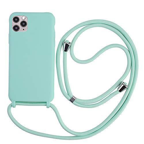 Handykette Hülle für iPhone SE 2020 6/7/8(4.7) Hülle Necklace Hülle mit Kordel zum Umhängen Silikon Handy Schutzhülle mit Band - Schnur mit Case zum umhängen -Türkis