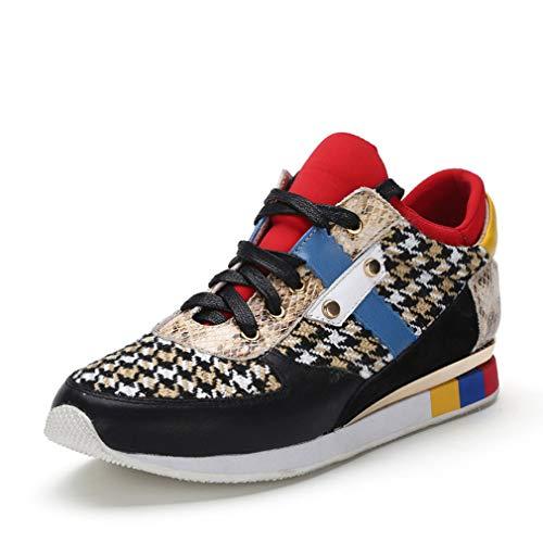 Dames Sneakers Hoge Top Sportschoenen Gebreid + Lederen Casual Schoenen Lace Up Platform Schoenen Atletische Schoenen, A,38