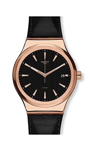 Swatch Herren Analog Automatik Uhr mit Leder Armband YIG400