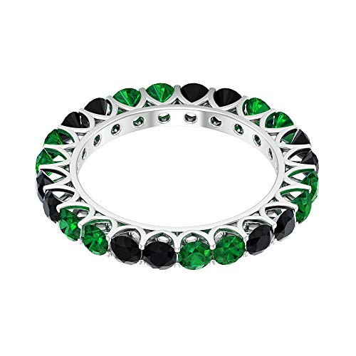 Anillo de eternidad de ónix negro de 3 mm, anillo de eternidad esmeralda de 3 mm, anillo de boda dorado, 14K Oro blanco, Size:EU 70