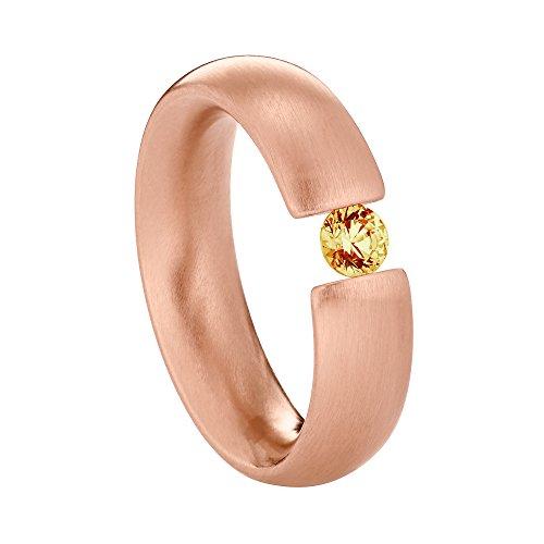 Heideman Ring Damen Intensio aus Edelstahl Rosegold farbend matt Damenring für Frauen mit Swarovski Stein Zirkonia braun im Brillant Schliff 4mm