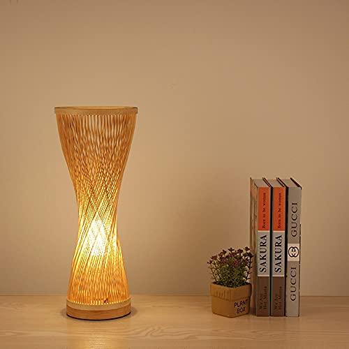 Lámpara de escritorio de bambú tejida a mano con interruptor de botón Luz de escritorio de madera del sudeste asiático Decoración clásica Accesorio de iluminación nocturna Dormitorio Lámpara de lectur
