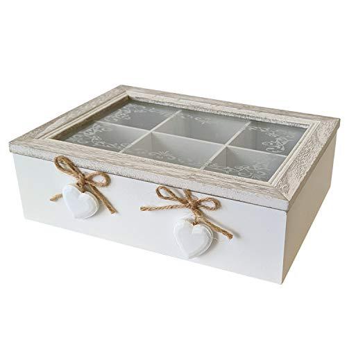 Aufbewahrungsbox Herz Teebox Holzbox mit Deckel Vintage-Stil 22x18x7cm Weiß