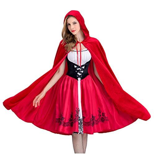 YNIEIAA - Disfraz de cosplay para mujer, estilo vintage con capa roja, ropa de juego de rol elegante para mujer, mujer y nia