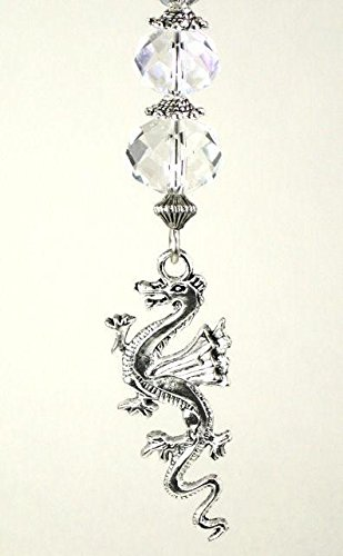 Silvery Dragon and Clear Faceted Glass Ceiling Fan Pull...
