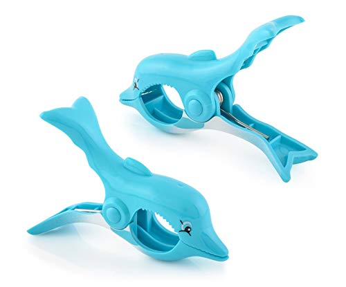 O2COOL Dolphin BocaClips, Beach Towel Holders, Clips, Set of Two, Beach, Patio or Pool Accessories, Portable Towel Clips, Chip Clips, Secure Clips, Assorted Styles
