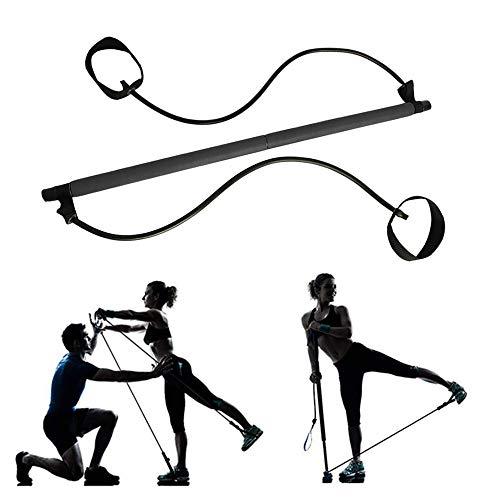 Palo de Pilates, Gimnasio Yoga Pilates Stick, Barra de Ejercicios Pilates, Multifuncional Ajustable Casa Barra Ejercicio con Foot Loop para Culturismo, Entrenamiento, Ejercicios Físicos (Negro)