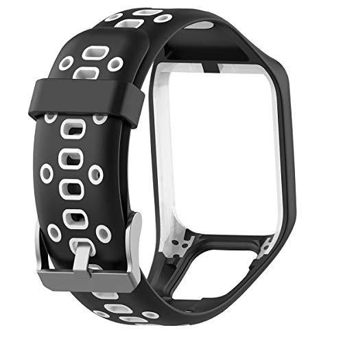 Zuzpao - Cinturino di ricambio per TomTom Adventurer/Golfer 2/ Runner 2 3 Series/Spark 3 Series/Sport, per uomo e donna, Black White