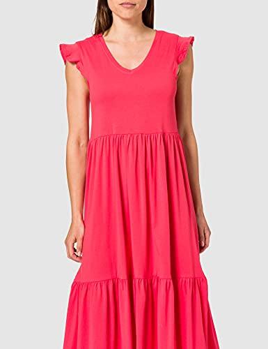 Only ONLMAY Life S/S Frill Calf Dress JRS Vestido, Rojo (Cayenne), M para Mujer