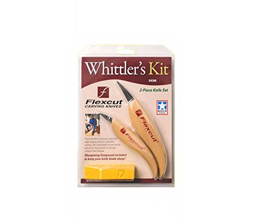 Flexcut Carving Tools, Whittler's Kit, High Carbon Steel Blade, Ergonomic Ash Handle, with Flexcut Gold Polishing Compound (KN300)