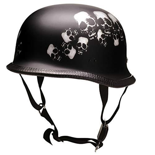 BISOMO RED BIKE Motorradhelm - Oldtimer Helm - Halbschale im Wehrmacht Style - Mit Motiv Totenkopf - Schwarz Matt Gr. M / 57 (RK-305)