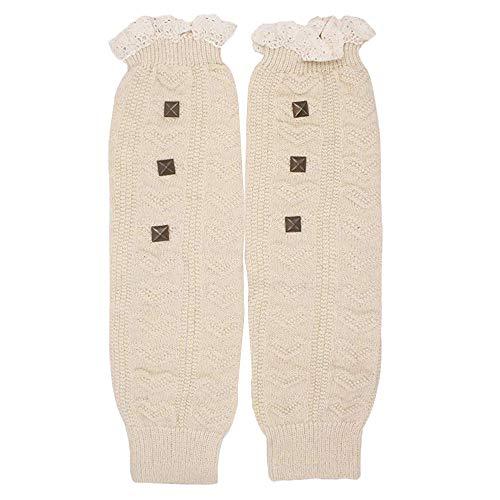 COZOCO 1 Par De Señoras Adulto Adolescente Costilla Costilla Pierna Remache Pila Calcetines (una talla, Blanco)