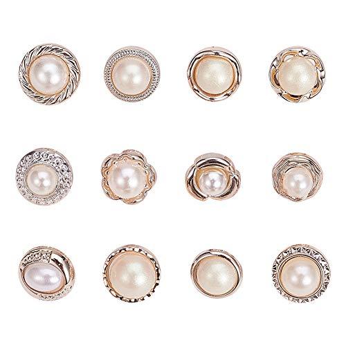 NBEADS 96 Stück Nähen In Faux Imitation Pearl Buttons, 12 Arten von Kunststoff Perlenknöpfe Mit Schaft Runde Knöpfe Verzierungen Nähen Handwerk Für Kleidung Hemden Anzüge Mäntel Pullover, Weiß