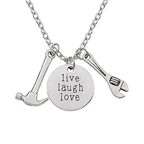 Collar de plata envejecida con colgante de martillo y llave inglesa, collar con amor de reino vivo