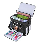 "Teamoy Knitting Bag, Yarn Tote Organizer with Cover and Inner Divider (Sewn to Bottom) for Crochet Hooks, Knitting Needles(up to 14""), Project and Supplies, Black(No Accessories Included)"