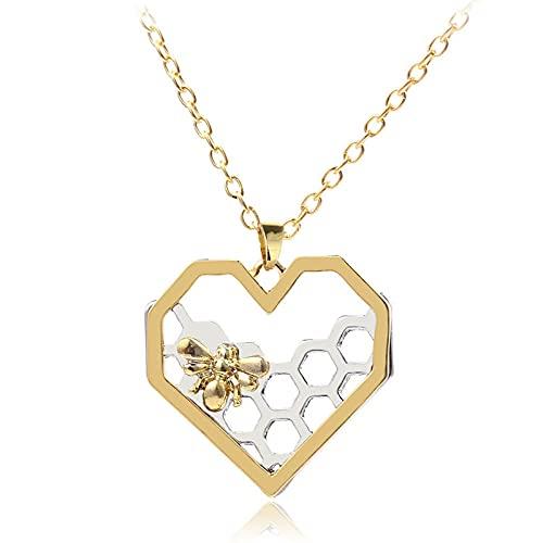 Pulsera de panal eres mi miel hexagonal colmena peine collar corazón colgante collar moda mujer -necklace_2
