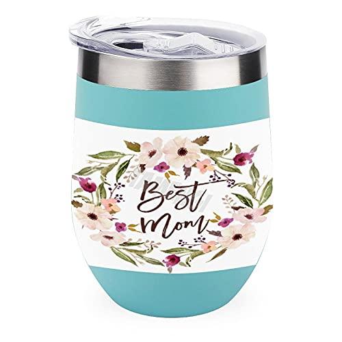 Vaso de viaje para café, vino, cócteles, tapa de helado para acampar al aire libre, taza de vino, mejor mamá, bohemia, acuarela floral, 12 onzas